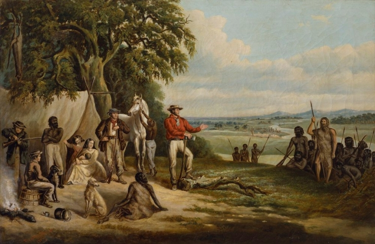 Frederick_William_Woodhouse_-_The_first_settlers_discover_Buckley,_1861.jpg